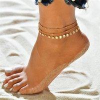 الذهب العملات الخرز خلخال سلسلة المرأة الصيف شاطئ متعدد طبقة التفاف سلاسل القدم سوار الأزياء والمجوهرات وستراندي هدية