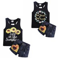 أطفال مصمم ملابس عباد الشمس الفتيات الصدرية الدينيم السراويل 2 قطع مجموعات الصيف طفل فتاة تتسابق بوتيك الاطفال ملابس 2 تصاميم DW4171