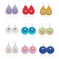 Flower PU Leather Earrings Teardrop Dangle Earrings Fashion ...