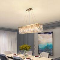 Nuove luci lampadario di cristallo moderni per sala ristorante d'oro appesa lampade apparecchi di illuminazione di lusso ciondolo rettangolo