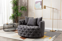 In Stock US Warehouse Modern Swivel Accent Chair Upholstered Barrel Chair for Hotel Living Room Modern Leisure Chair,with 3 Throw Pillows