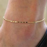 Simple Femme Bracelets de cheville Casual / sportif Or Argent Couleur chaîne Femmes cheville Bracelet Bijoux T200714