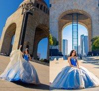 Tono unico di due colori Royal Blue Beige Quinceanera Abiti abito di sfera di cristallo increspato lungo di paillettes Sweet 16 Abiti De Dress