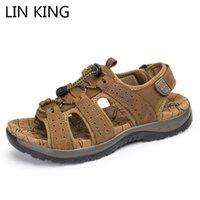 LIN KING New Leisure Summer Genuine Leather Men's Sandals Breathable Outdoor Beach Sandals Shallow Solid Man Sports Hiking Shoes
