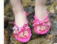 المرأة الصيف النعال المسامير bowknot فليب شحافات الشاطئ sandalias femininas شقة جيلي تصميم الصنادل الأحذية في الهواء الطلق