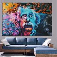 Astratta moderna Albert Einstein Pittura Ritratto Olio su Tela Graffiti Pop Art Poster Stampe Wall Art Immagini per Living Room Home Decor