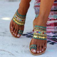 heißen Verkauf-Nizza Dames Hausschuhe Damen Artisanal Flipflops handgemachte griechische Art Boho Flip-Flop-Sandalen Frauen Slipper Flops Sommer Outdoor