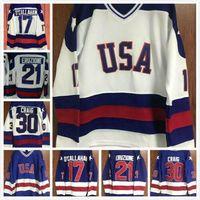 1980 فريق الولايات المتحدة الأمريكية معجزة على الجليد 17 جاك أوكالاهان 21 مايك إروزيون 80 معجزة 30 جيم كريج 9 نيل بروتين الأزرق الأبيض الجليد الهوكي جيرسي خمر