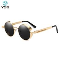YSO 2020 New Steam Punk Sonnenbrillen für Frauen Männer runde Linse Metallrahmen polarisierte Sonnenbrillen Mann Sonnenbrillen 8021