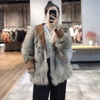 Kadın Kürk Faux Lavelache 2021 Lüks Gerçek Ceket Kış Ceket Kadınlar Doğal Giyim Hakiki Deri Cep Streetwear Kalın