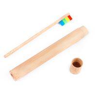 На склад путешествие Подставки для зубных щеток для взрослых Bamboo зубной щетка Bamboo Case Wood Подставка для зубных щеток для ванной отеля туалетных принадлежностей