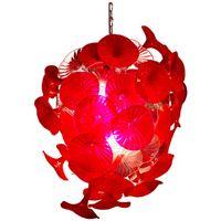 G9 LED 크리스탈 유리 꽃 펜던트 램프 레드 32 ''현대 천장 조명 계단 바 유리 샹들리에 조명 AC 110V ~ 240V 범위 풍선