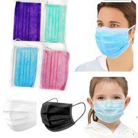 maschere monouso adulto bambini maschere di 3 strati balck polvere Bocca Maschere chilidren Coperchio 3-Ply DHL libero mascherano