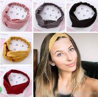 Capelli elastici Donne progettista fascia pelle scamosciata fascia Vintage Croce Nodo solido morbido ragazze Hairband accessori dei capelli
