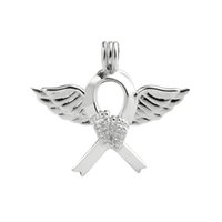 Angel Wing Water Footprint Ribbon Cage Cage Locket Love Wish Pearl Regalo 925 Sterling Silver Silver Pearl Cage Pendant 5 pezzi
