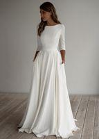 2020 A-ligne Robe de mariée modestes Crêpe manches longues Pockest balayage train élégant simple nuptiale informelle Boho Robes manches Custom Made