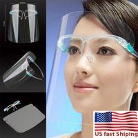 US Stock PET transparent écran facial avec des lunettes de protection Masque Porte étanche à l'huile-Splash Anti-UV Face Cover transparent Masque verre visage