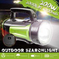 Lanterne portatili 2000LM USB Ricarica LED LED Lampada da lavoro Torcia 6000mAh Spotlight batteria Spotlight a mano Camping Lantern Searchight per pesca Hunti