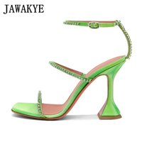 Sexy Crystal Cup high heel sandals Women ankle strap red stilettos sexy pumps summer Dress Party shoes Woman zapatos de mujer