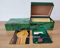 5 قطع شحن مجاني جودة عالية رئيس ساعة ووتش الأخضر الأصلي مربع ورقات بطاقة صناديق الخشب للتاريخ بتوقيت جرينتش 126710 126610 126710 ساعات