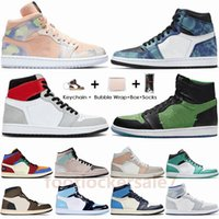 Stock X Nike !Ar! Jumpman Jordan 1 UNC Mid Milan Tie Dye Fúria Verde Pherspective Travis Scotts High Low Paris 1s Mens tênis de basquete Retro Sneakers Sports