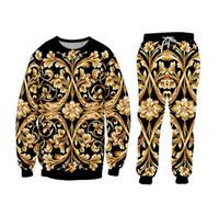 Yeni Erkekler Kadın Unisex Çift Çiçek Sonbahar Kış eşofman Crewneck Sweatshirt + pantolon yazdır 3d