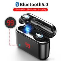 HBQ Q32 무선 블루투스 5.0 헤드폰 업그레이드 버전 LED 디스플레이 TWS 진정한 무선 이어폰 헤드셋과 마이크 미니 이어폰 1PCS