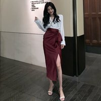 Mazefeng 2020 New Sexy Solid Chiffon Split Skirt Casual Fashion Long Skirts for Women Spring Summer Lace-up Elegant Female Skirt