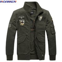 NORMEN Brand Clothing Men's Bomber Jacket Embrodiery Army Froce Fashion Jacket Men Solid Casual Streetwear jaqueta masculina