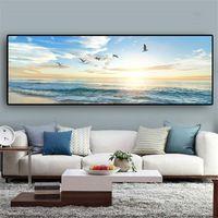 Mer naturelle Plage Flying Birds Paysage Affiches toile Peinture murale Art Image pour Salon Home Decor (Frame No)