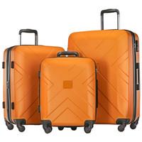 """3 Stück Kofferset, beweglicher ABS Trolley 20"""" / 24"""" / 28"""" Orange, dehnbare 8-Rad-Spinner Gepäck Set mit Teleskopgriff,"""