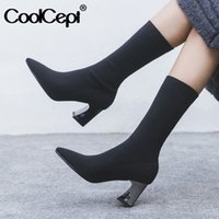 Coolcept femmes botte courte sexy talon haut bout pointu Chaussures Femme d'hiver chaud extensible Boot Casual Party Daily Chaussures Taille 33-42