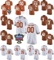 مخصص تكساس لونغهورن كلية كرة القدم جيرسي 10 فينس شاب رجالي شخصية أي اسم رقم مخيط السكر السلطانية التصحيح الفانيلة