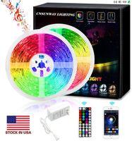 LED RGB Led Strip Lights Bluetooth SMD 5050 Smart Timing Led Led String Light Strips Kit con 44 Tasto RF Remote Controller 12V 5A Adattatore