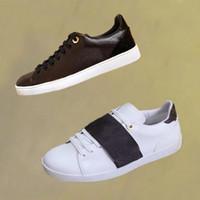 signora del progettista bianchi scarpe casuali 100% in pelle con lacci Lettere sneaker brune donna di lusso classiche scarpe da donna Scarpe basse Taglie Grandi 35-41-42