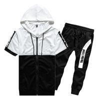 BROWON Brand 2020 Мужчина Summer Set Мужского Tracksuit Короткого хлопок футболка + Long Pant Two Piece Set Мужской одежда для