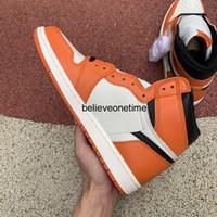 Верхнее качество Jumpman 1 High OG Reverse Разрушенные Backboard 555088-113 UNC университет Синий Toe Бред Мужчины Баскетбол обувь кроссовки Размер 5.5-12
