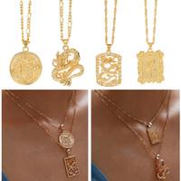 Bohemian Portrait Drache Halsketten-Legierung Gold Coin Anhänger für Frauen Vintage Rose Blume Mode lange Halskette Statement Schmuck Geschenk