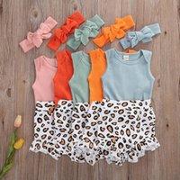 Bebek Kız Kısa Kollu Romper Leopar Bodysuit Tulum Yumuşak Toddler 3 adet Set Kıyafet Speekleri Bebek Bloomers Kafa Giysileri Set Wmky #