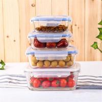 más barato !! Envases de almacenamiento con tapas de vidrio de comidas de preparación envases herméticos para almacenamiento de alimentos con tapas transparentes a prueba de fugas