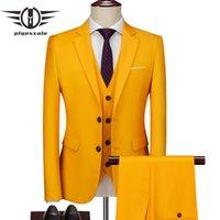 Plyesxale 2020 Abiti giallo Uomini per matrimonio Moda Uomo 3 pezzi Casacos Homens Traje Hombre formali Abiti da ufficio Lavoro Q1027 Maschio