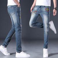 Jeans masculinos ymwmhu animal bordado homens moda verão e outono denim calças tigre tigre estilo chinês calças macias slim jean