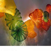 Необработанные светодиодные декоративные настенные огни 10 шт. Зеленые оранжевые цветные ручные вручную стеклянные плиты Турция дизайн цветные мурано стекло светодиодные стены Sconce