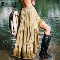 التنانير Everkaki ليوبارد ماكسي تنورة المرأة بوهو القطن مثير طويل نمط هندسي طويل البوهيمي مرونة الخصر المرأة 2021