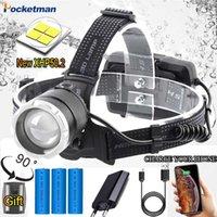 dissipação de calor Farol USB recarregável P50 Indução faróis LED Pesca Head Lamp Luz Lanterna impermeável por bateria