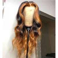 Ombre Highlight Parrucca Brown Honey Blonde Colorato Ondulato Glueless Laccio anteriore Parrucche per capelli umani Parrucche di capelli dritta Pizzo Parrucca frontale Remy