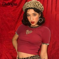 Darliningaga Moda Red Red Cypbed Femenino Camiseta Leopardo Impresión Patchwork Heart T Shirt Mujeres Cultivos Tops Slim Verano Camiseta Femme
