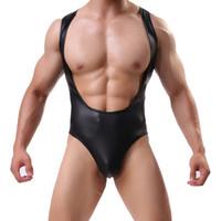 Undershirts Sexy Homens Faux Couro Bodysuit Boxers Jumpsuits Wrestling Singlets Lingerie Esticar apertado gay Jockstrap
