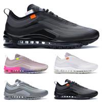 Nike Air Max 97 Off-White ayakkabıları kadın siyah beyaz, gri çam Yeşil Gusto Varsity Mavi erkek eğitmenler moda spor ayakkabı 36-45