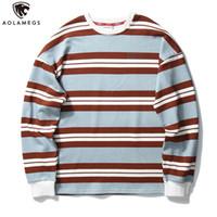 Мужские толстовки для толстовки AOLAMEGS HARAJUKU Толстовка мужская Урожай Хит Цвет полосатый печать пуловер O-образным вырезом повседневная мешковатая базовая капюшона Stree